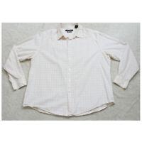 John Henry White & Pink Long Sleeve Man's Dress Shirt Button Up XXL Top Cotton