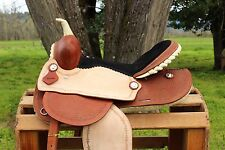 "14"" ROUGH OUT RAWHIDE WESTERN LEATHER TRAIL BARREL RACING HORSE SADDLE TACK"