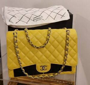 Chanel Maxi Classic Yellow Quilted Caviar Leather Crossbody Shoulder Women Bag