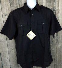 North End Men's Work Service Wear Shirt Size M Black Poly Cotton Button S/S New
