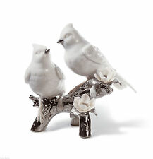 New Lladró Re-Deco Nature's Duet Love Birds White Porcelain & Platinum NIB RARE