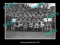 OLD LARGE HISTORICAL PHOTO OF THE GEELONG FC TEAM c1952 FRED FLANAGAN CAPTAIN
