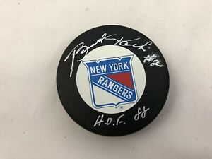 BRAD PARK #2 HOF 1988 AUTO Autograph Signed NHL Hockey New York Rangers Puck #8