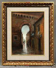 """20th Century Oil Painting signed Gully """"Dark Alley after Rainfall"""""""