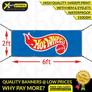 Hotwheels Mattel Garage Workshop Banner Boys Toys Mancave Blue Sign 6ftx2ft