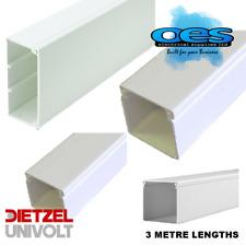 "Univolt PVC Plastic Trunking 3 Metre Lengths 2x2"" 4x2"" 3x3"" 4x4"" + Stop Ends"