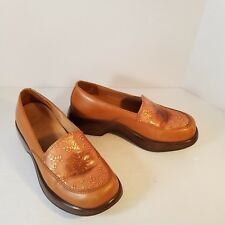Dansko Mandolin Slip On Clog Brown Gold Floral Sz 38 Eur 8 US Made in Brazil