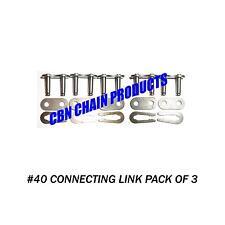 #40 Chain Go Kart Mini Bike #40 Master Link, 40 Connecting Link Pack of 3