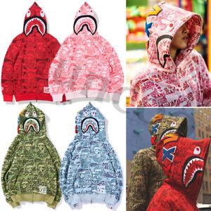 Hoodie Shark Head Sweatshirt Coat Jacket Sweater Jaw Camo Full Zipper Men's