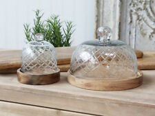 Chic Antique Glasglocke groß Schliff Platte Mangoholz Schale vintage und shabby