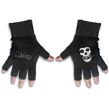Misfit Logo & Fiend White Logo Official Fingerless Black Gloves Rock Band Cotton