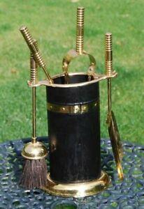 Modern brass fireside companion set poker tongs shovel & brush Poker 15in long