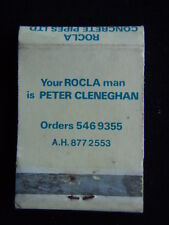 ROCLA CONCRETE PIPES LTD YOUR ROCLA MAN IS PETER CLENEGHAN 5469355 MATCHBOOK