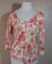 J Jill womens pink red floral cardigan sz XS silk cotton cashmere blend 0115