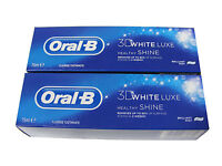 2 x ORAL B ORAL-B 3D WHITE LUXE FLUORIDE TOOTHPASTE 75ML BRILLIANT MINT FLAVOUR