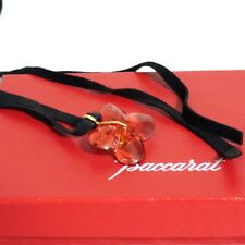 "Auth BACCARAT Crystal Red Flower Pendant Necklace Choker 90cm/35.4"" Good in Box"