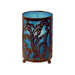 TURQUOISE Medium Bedside Fabric Lamp Hand Carved Metal Leaf Design Fair Trade