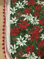 "Vintage Christmas Poinsettia Oblong Cotton Tablecloth 58"" x 90""  Lace/Fringe"