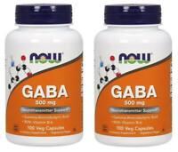 Now Foods - GABA, Neurotransmitter Support, 500 mg 100 Capsules - 2 Packs
