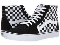 1c3cd6ae5e7 Vans SK8 SK8-HI Checkerboard Chex Black White Classic Mens Sizes Coast NEW
