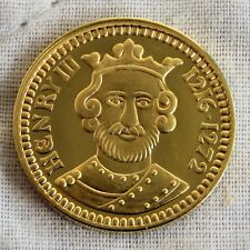 RE ENRICO III 1216 - 1272 21 mm 22 KT GOLD PLATED MARCHIATO ARGENTO PROOF MEDAGLIA