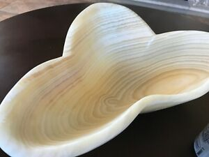 """Lovely,Thick Onyx Bowl, Ivory and Tan Gemstone Sculptural Art, 17""""x15""""x5"""""""