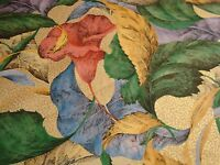 """One Yd WESTERN TEXTILES Canna lily Floral FABRIC Gold embossed Drapery 54""""w BTY"""