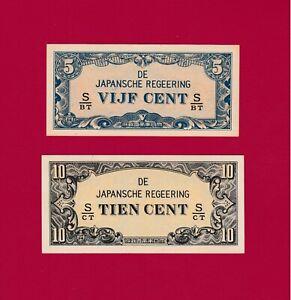 NETHERLANDS INDIES UNC WAR NOTES 5 Cents 1942 (P-120c) & 10 CENTS 1942 (P-121c)