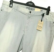 M&S Ladies Jeans Blue Striped Slim Boyfriend 22R BNWT Marks Indigo