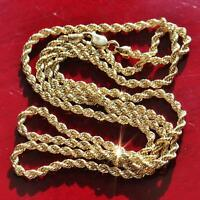 """10k 417 yellow gold necklace 22.0"""" rope chain vintage  2.7gr"""