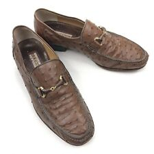 Artioli Brown Ostrich Leather Horse Bit Loafer Handmade $3600 • Italy • Size 9