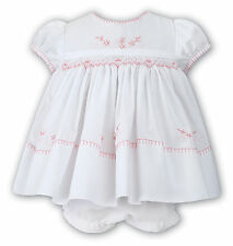 NWT Sarah Louise Baby Girls White Pink Smocked Dress 18M 18 M & Ruffle Bloomers