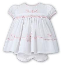 NWT Sarah Louise Baby Girls White Pink Smocked Dress Newborn & Ruffle Bloomers
