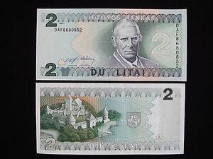 Genuine 1993 Lithuania Lietuva UNC 2 Litai Litas Paper Banknote Money - 429