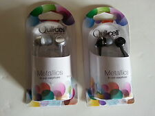 New Quikcell Black or Silver Metallics Earbuds In ear Earphone iPOD iPHONE 3.5mm