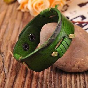 G198 Green Genuine Leather Handcraft Lace Wrap Wristband Bracelet Cuff New