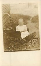 Real Photo Postcard~Smiling Baby in Vintage Baby Carriage~Seat Belt~1910 RPPC