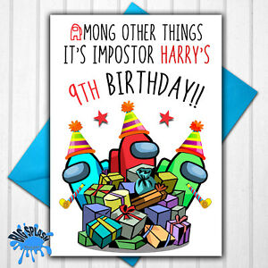 Among Us Personalised Birthday Card Any Name or Relative + Age