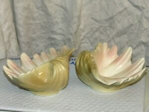 2 Ceramic Bear Claw CLAM SEA SHELL SOAP Trinket  DISHES Bowls  BEACH DECOR  PAIR