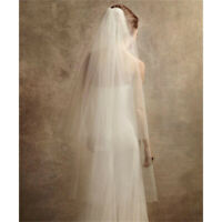 Sheer Wedding Bridal 2 Layer Cathedral Length White Ivory Tulle Women Veil +Comb