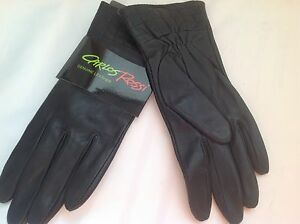 ***sz 7.5***nwt Carlos Rossi Genuine Leather Fleece Lined Gloves Black Top #21