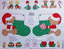 * Vintage Precious Moments Christmas Quilted Stocking & Appliques Fabric Panel