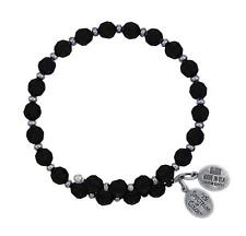 Wind & Fire 6mm Jet Black Crystal With Spacer Bead Stackable Bangle Bracelet USA