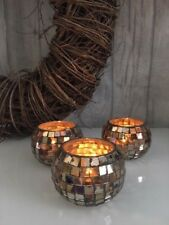 Copper Set of 3 Tea Light Holders Mosaic Iridescent Glass Candle Decoration