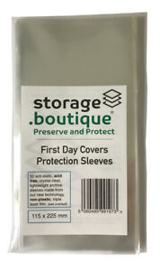 storage.boutique FIRST DAY COVER (FDC) ACID FREE Protection Sleeves 50 - 3 SIZES