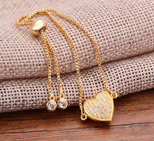 Luxury CZ Crystal LOVE Heart Charm Friendship Bracelet Slider Box chain GOLDEN
