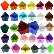 New Plain Satin Mens Hanky Handkerchief pocket square - over 30 colours