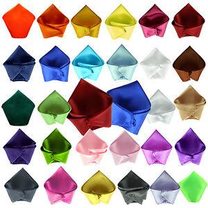 New Plain Satin Mens Hanky Handkerchief pocket square - over 30 colours