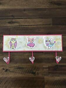 "Owls Wall Hooks Coat Hats Kids Room Decor Metal Gem Hooks 14"" X 6.5"" Pink"