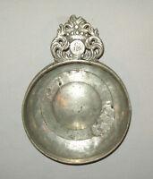 Old antique vtg 1800s Pewter Porringer marked C.I.E. on Handle American English?